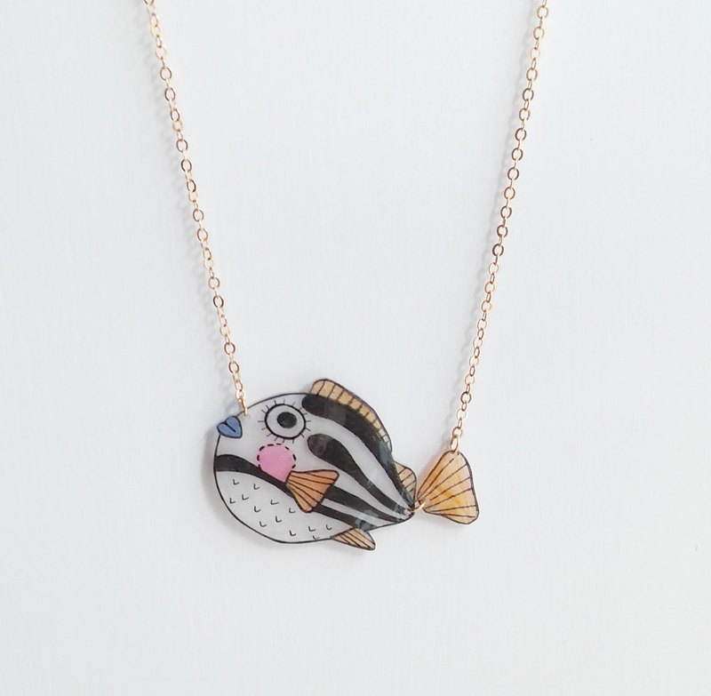 Fish Best friend series-  Puffer fish - Hand Drawn - necklace