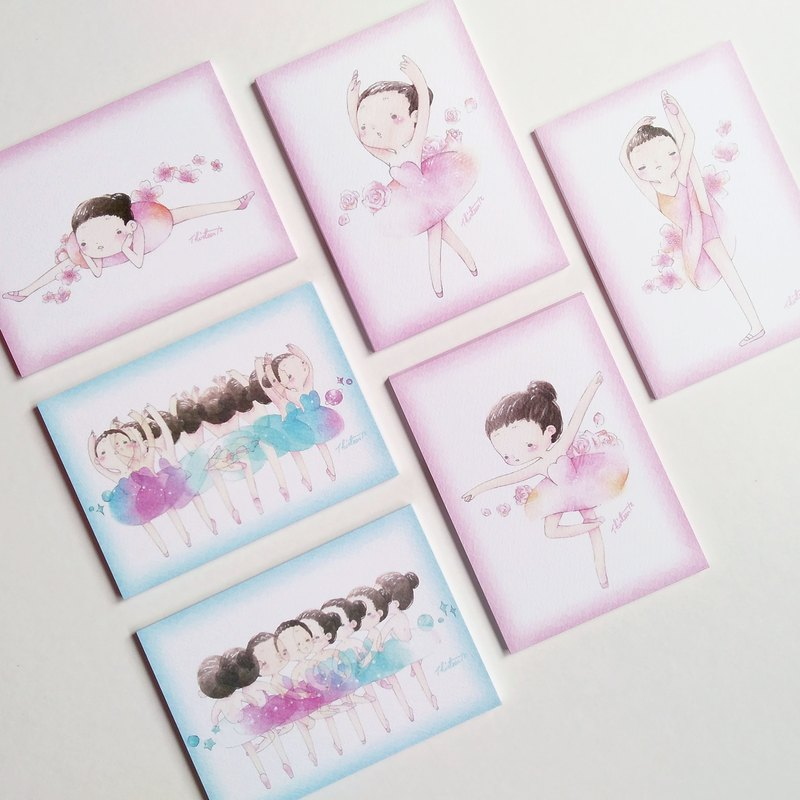 {139} ballet girl postcard, 6 Pack