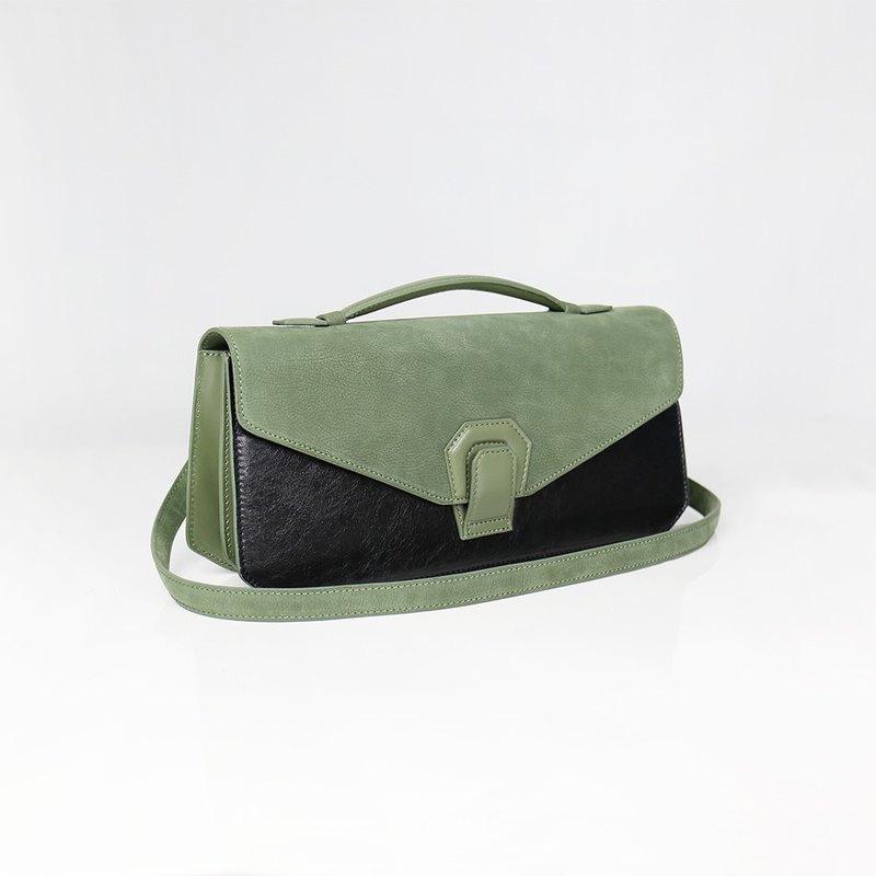 【 Melodica 】真皮二層風琴肩背手拿包 - 抹茶綠