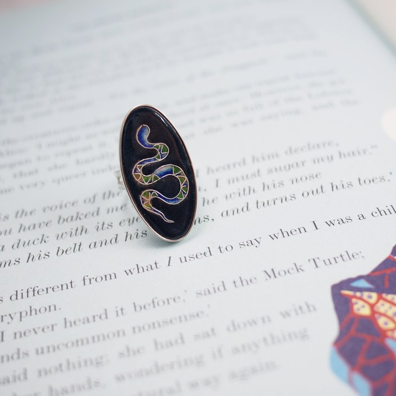 Zodiac enamel jewelry series snake enamel ring