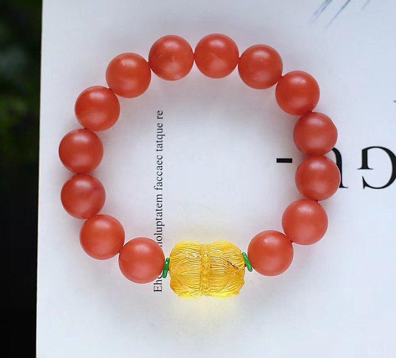 精品天然保山南紅12MM手鏈 滿色柿子紅 點綴天然金珀並蒂蓮轉運珠
