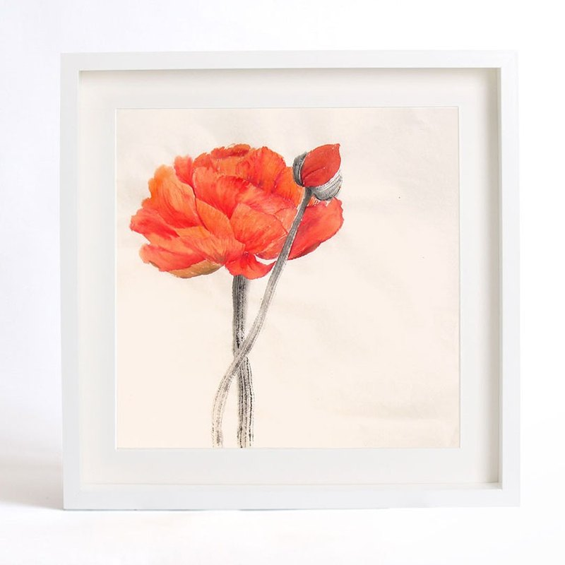"Flower Art Print of Original Watercolor Painting, ""Silent as Enigma"" Serie-Red Corn Poppy -Stay with You"