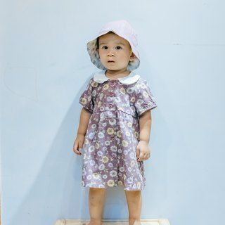 Round neck small dress - Lavender sunflower young children newborn children's hand made