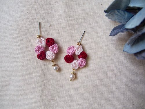 Rose wreath series earrings / stainless steel ear pin / can be changed ear clip