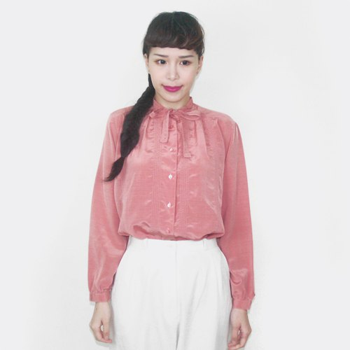 Light pink strap chiffon vintage long sleeve shirt BG4010