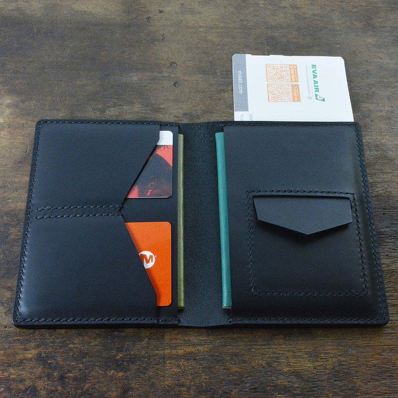 義大利協會認証植鞣革 黑色手縫多功能護照夾/護照套