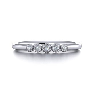 【PurpleMay Jewellery】18k White Gold Stacking Natural Diamond Band R009