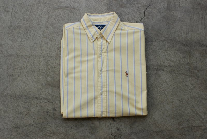 POLO yellow blue striped shirt