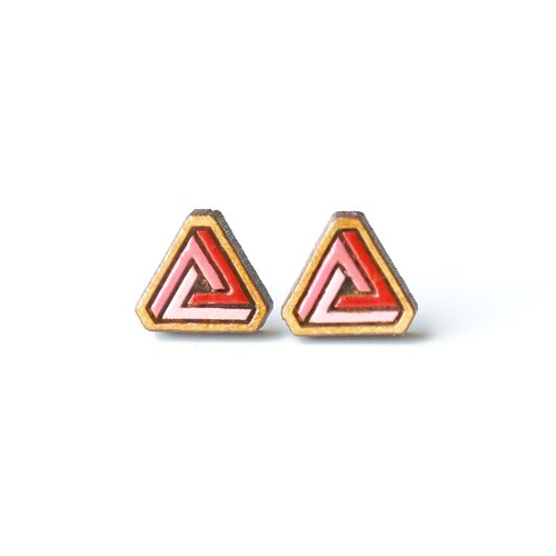 Painted  wood earrings-triangle (red)