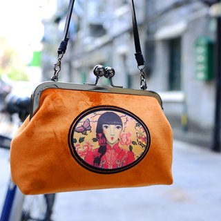 CoinQian velvet retro mouth gold bag shoulder diagonal hand carry bright orange