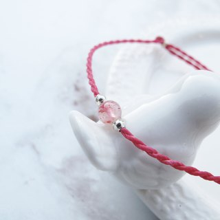 Big staff Taipa [handmade silver] strawberry crystal × natural stone very fine wax rope bracelet peach blossom