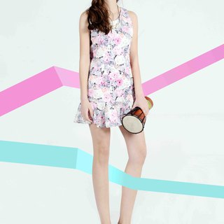 Pastel Holiday Series Sleeveless Print Fishtail Dress