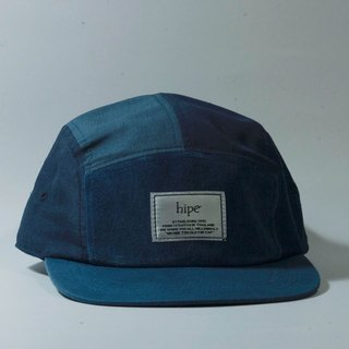 blue and navy patchwork 5panel cap