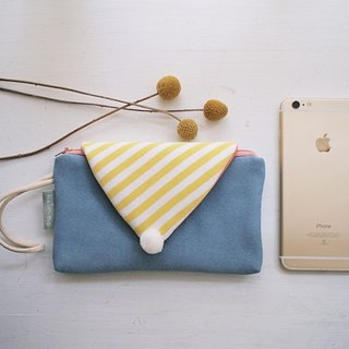 hairmo. Striped Macaron zipper mobile phone bag - suede blue (iphone / htc / samsung / mobile power)