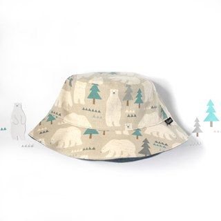 Warm-brushed double-sided fisherman hat - Polar Bear Forest (rice ash)