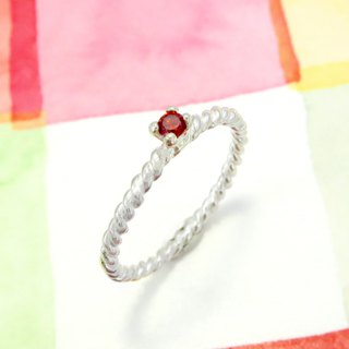 Ring twist pomegranate red small claws ring sterling silver ring (single)