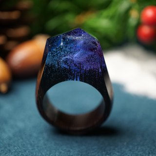 [Handmade] Titanium wood psychedelic Galaxy wooden ring Galaxy with Kassod Tree woodring