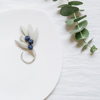 Large leaf berry cloth flower fruit brooch / pin * Po blue