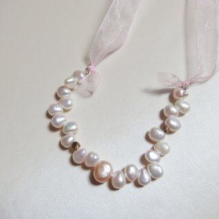 Dancing Pearl Necklace / Bracelet - Pink tone