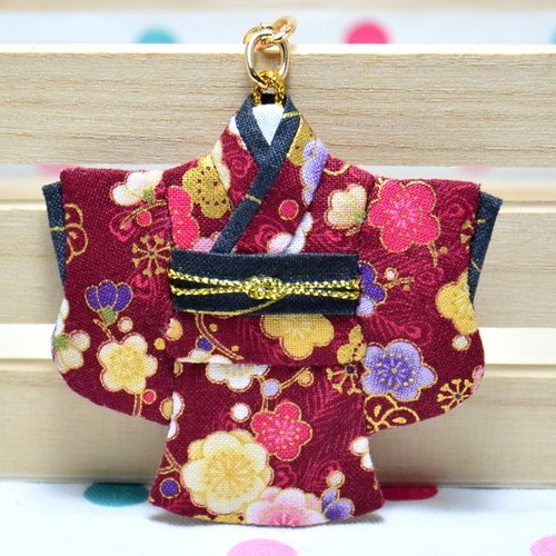 Pocket kimono key ring - wind romantic flowers