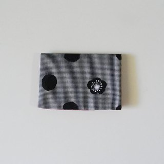 Business card holder dot plum gingham check black