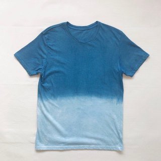 Indigo dyed 藍染 organic cotton - SEA TEE blue gradation