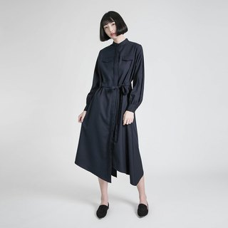 Outstand 不对称世Asymmetric wool dress _8AF105_丈青