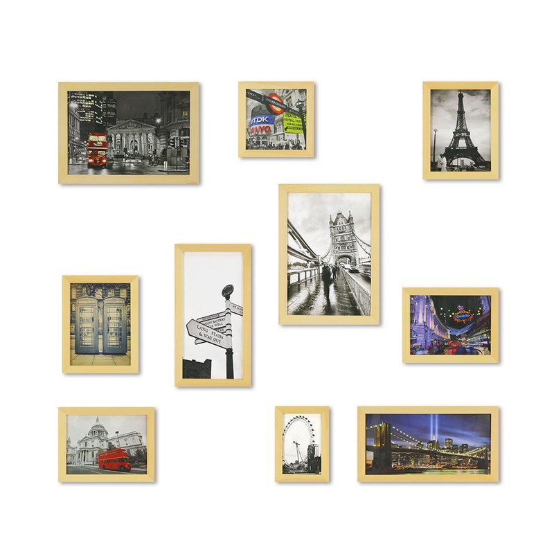 HomePlus Photoframe LightBrown Large Size 10PCS City Decor Loft