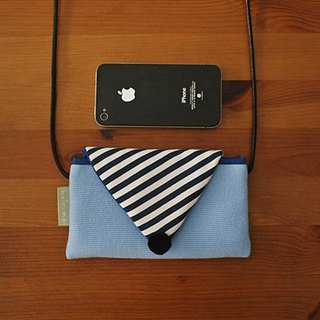 Hairmo striped macaron chest back phone bag - water blue version (mobile / mobile power)