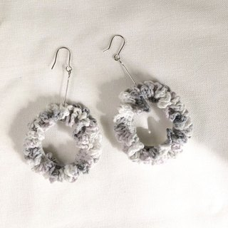 Crochet _ Wreath Dangle Earrings _ Grey