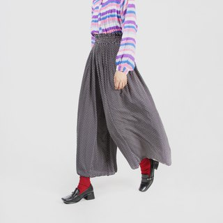 [Egg plant ancient] fine pleated jade ancient wide leg trousers