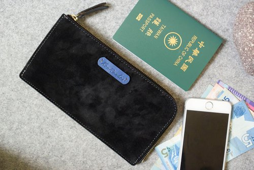 YOURS large capacity zipper long black suede + blue leather