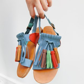 Painting # 8053 || calfskin flat fringed sandals I most rocking kingfisher blue ||