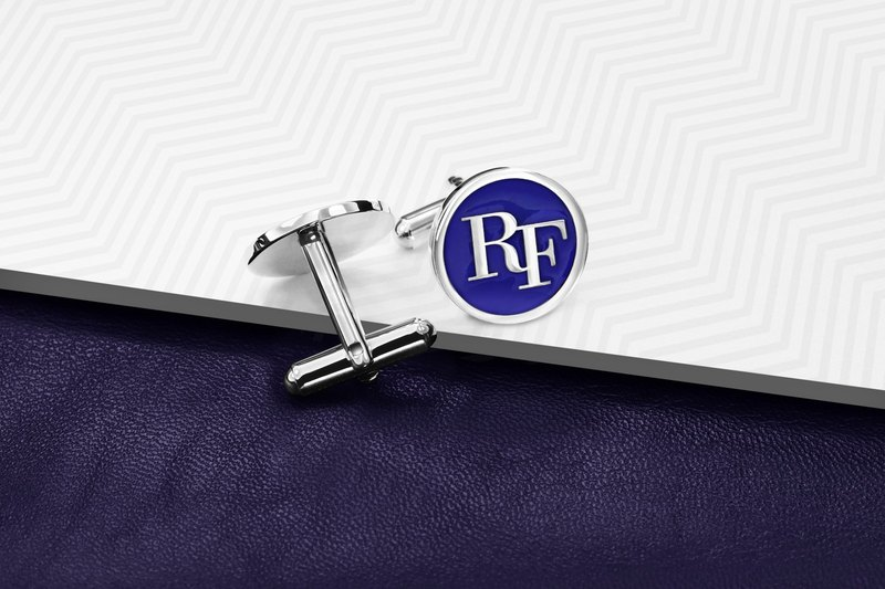 Initials Cufflinks - Personalized Cufflinks with color - Enamel Cufflinks