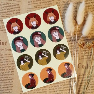 Christmas girl universal small round stickers / 12 pieces