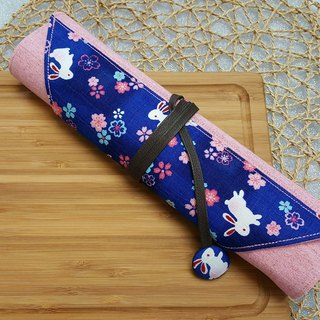 Dark blue cherry rabbit Japanese imported cotton ~ environmental protection cutlery set / cutlery bag (4 format)