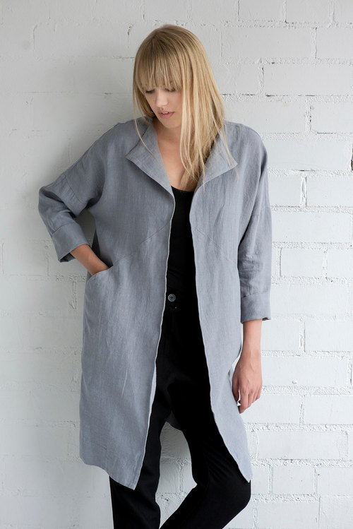 Linen Jacket Motumo – 17SV2 / Handmade linen jacket with pockets and 3/4 sleeves / Washed linen jacket