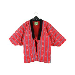 Back to Green :: 袢 day Japan home cotton jacket shop cotton lining red lines well patterns // unisex wear / vintage (BT-02)