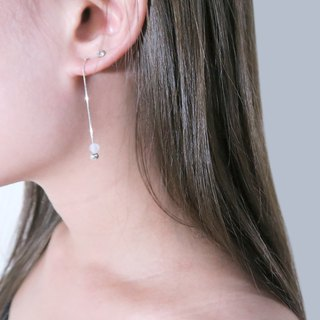 White Crystal Venice Long Chain Earrings (Small) - 925 Sterling Silver Natural Stone Earrings