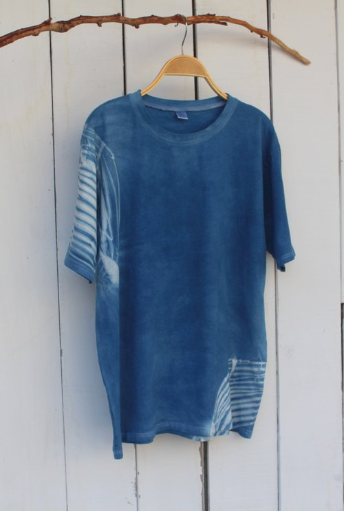 Comfortable hand-dyed isvara bloom blue dye pure cotton T-shirt Series
