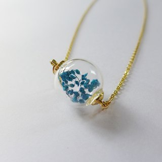 Glass ball necklace ocean-colored flowers [] -XIAO ◆ Favorite Season Series Special Valentine gift glass handmade dried flowers autumn blue Christmas