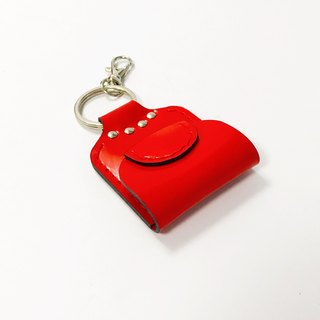 Bright red leather mini wallet key ring