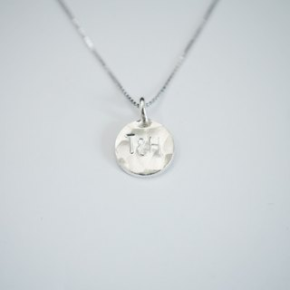 925 Sterling Silver Personalized Hammered Initial Plate Necklace