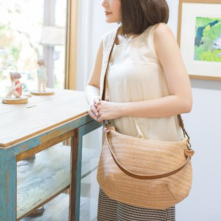 Cross-body Sweet Journey Bags M size Botanical Dyed Cotton Natural-Tan Color