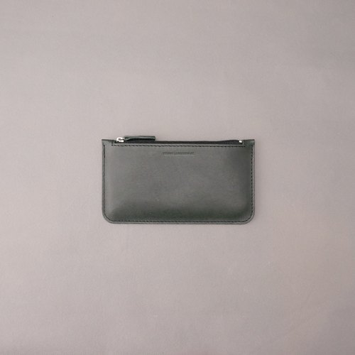 Flattened long clip Wallet Long clip Dark green. Vegetable tanned leather / leather. Leather / RRENAE Leatherware