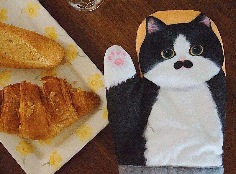 MEWJI妙吉原創可愛貓咪爪微波爐烤箱烘焙隔熱手套 黃底奶牛款