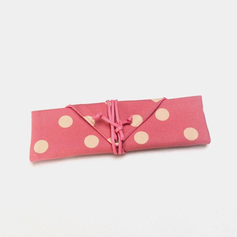粉紅水玉點點餐具包/筆收納袋 餐具套 手作 帆布 收納 環保 方便