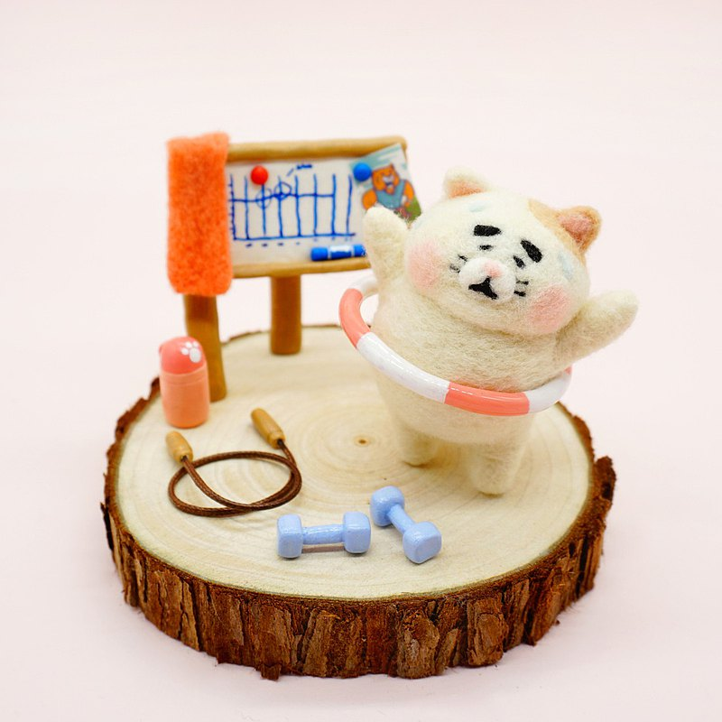 羊毛氈減肥肥貓 花斑貓家居擺飾 鑰匙鏈 鑰匙圈 鑰匙鏈 聖誕禮物