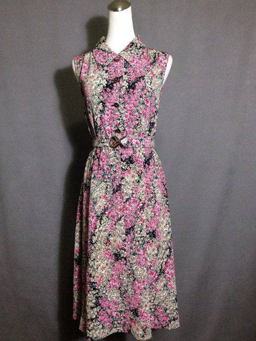 Time ancient [antique dress / flower belt sleeveless antique dress] foreign back to ancient dress VINTAGE