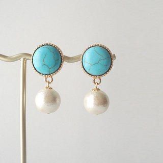 Stabilized turquoise cabochon and cotton pearl, clip on earrings 夾式